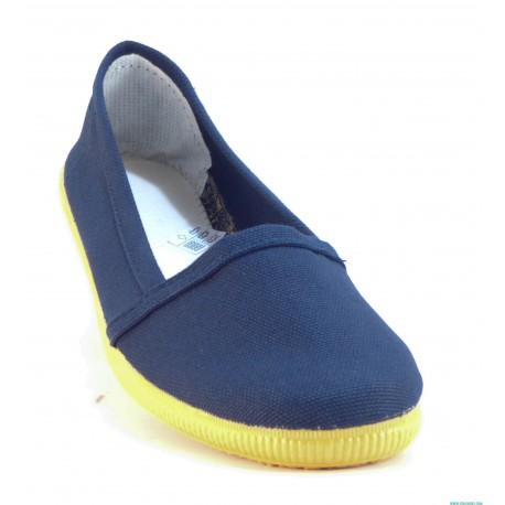 Modelo liso de color azul marino. Plantilla de ropa muy comoda y suela flexible de goma. Alpargatas sencillas y comodas de la